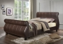 "Marseille Modern 4'6"" Bed in Brown Faux Leather"