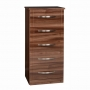 Torino 5 Drawer Narrow Chest in High Gloss Walnut